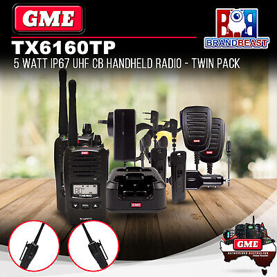 Gme Tx6160Tp 5-Watt Ip67 Uhf Cb Handheld Radio Twin Pack