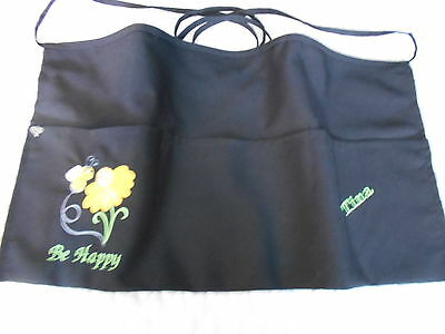 Black 3 Pocket Server Waitress Waist Apron Daisies Bees W/Wo Name LadyPizazz