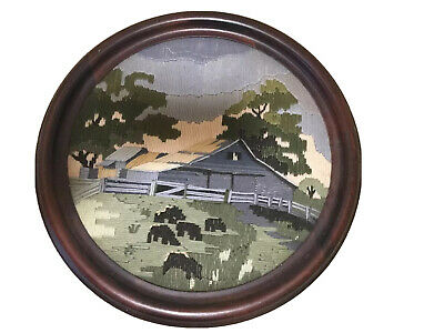 Vintage framed Australian Country Farm House Long Stitch Tapestry Craft Complete