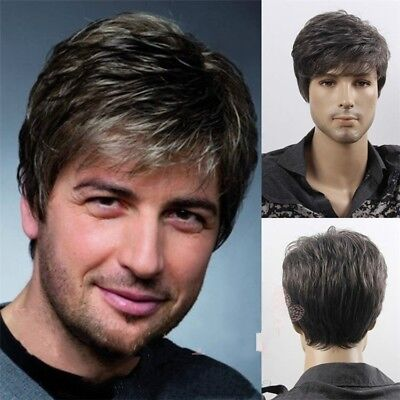 Men's Man Short Brown Mixed Cosplay Natural Hair Wigs Wig Top Quality Hot #WE9