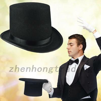 Satin Bell Top Hat Adults Fancy Costume Dress Victorian Ringmaster Magician Hat