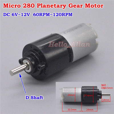 DC 6V 9V 12V 120RPM Small 280 Planetary Gearbox Gear Reduction Motor D-shaft DIY