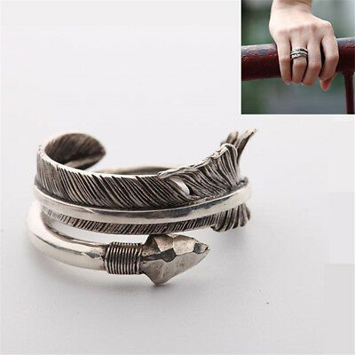 Bohemian Ring Hawk Feather Lucky 925 Silver Arrow Ring Men Women Open Ring