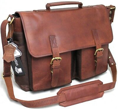 Quality Full Grain Leather  Briefcase. Laptop Padding Protect Style 81011