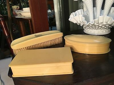 Antique Vintage Cellulose Zylonite Clothes Brush & Pair of Trinket Holders