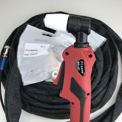 PT31 plasma cutting torch and extended consumables nozzles and electrodes 6M