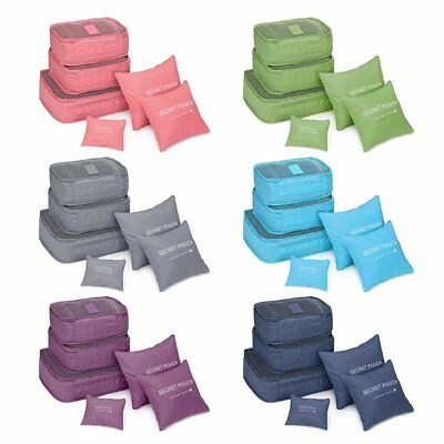 6PCS Waterproof Travel Storage Clothes Packing Cube Luggage Organizer Pouch DR