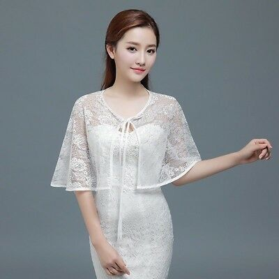 Bridal Lace Shrug Bolero Cape Wrap Jacket Shawl Capelet Tippet Wedding 8 Color