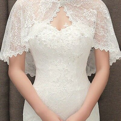 Bridal Lace Shrug Bolero Cape Wrap Jacket Shawl Capelet Tippet Wedding 4 Color
