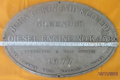 Vintage Ship/Engine Builder Brass ORIGINAL Plaque/Plate JOHN G. KINCAID 1977