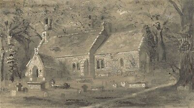 Ellis, Old St Boniface Church Bonchurch Isle of Wight -1870 watercolour painting
