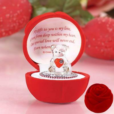 Teddy Bear with Message Ornament Red Rose Box for Someone Special Amazing Gift