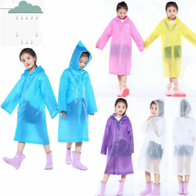 Kids Reusable Rainwear Waterproof Raincoat Rain Ponchos Cover Up Outerwear AU