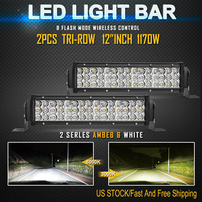 """2PCS 12""""Inch 1170W Total OSRAM LED Work Light Bar Combo Driving Offroad SUV UTE"""