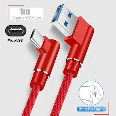 Micro USB Data Snyc FAST Charger Charging Cable 90 Degree For Android Samsung S7