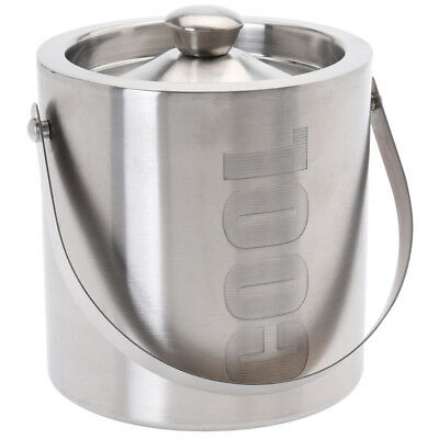"""Large Double Walled Stainless Steel Insulated Ice Bucket """"Cool"""" With Lid 1.5 Ltr"""