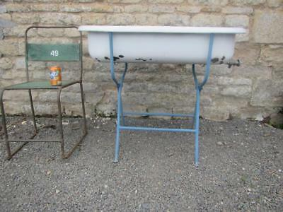 Vintage Tin Baby Bath Enamel Bowl Sink With Stand  Roll Top Ice Wine & Free Post
