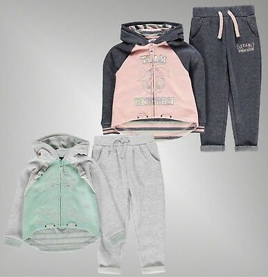 Girls Branded Character 2 Pieces Soft Fleece Hoody Joggers Jogging Set 2-13 Yrs
