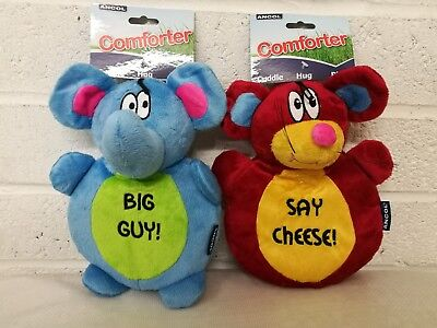 Dog Puppy Play Toy *pack Of 2 Toys* Soft Cute Cuddly Crinkly Fun Bright Pet Toys
