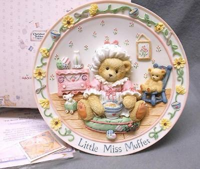 Cherished Teddies Little Miss Muffet plate I'M NEVER AFRAID WITH YOU... COA MIB