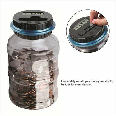 LCD Digital Electronic Counting Coin Bank Money Saving Box Jar Counter Bank A`