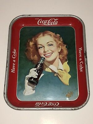 1948 DRINK COCA COLA Beautiful Red Hair Girl Serving Tray