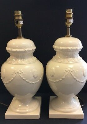 Antique Decorative Pair Of  French Table Lamps Porcelain Paris  -17 ' High
