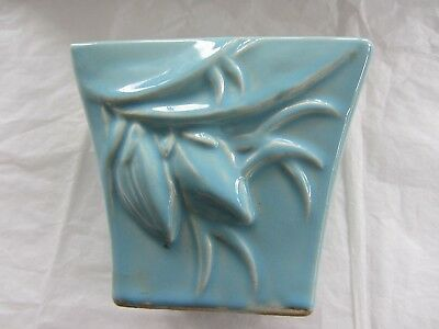 """McCoy Pottery Vase Blue Floral Embossed 4"""" Tall"""