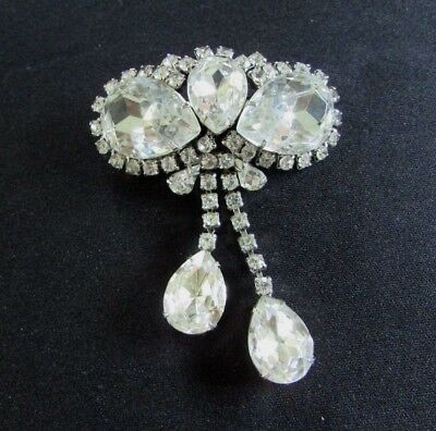 Vintage Huge Dangle Brooch~Pin Prong Set Clear Sparkling Gorgeous