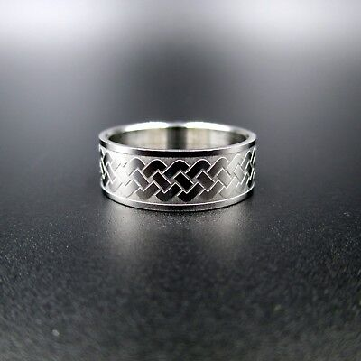 New Size 10 Silver Steel Ancient Celtic Symbol Ring Unisex Bright Shiny Ring!
