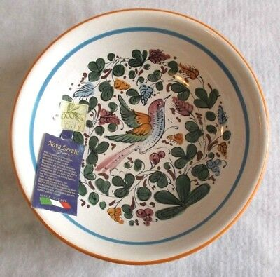 "Nova Deruta Pottery Bird Pasta Cereal Bowl 8.5"" Italy Hand Painted NEW Tag"