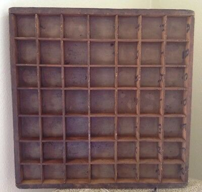 """Vintage Wooden Printers Tray Letter Box Drawer Shadow Box SMALL 12.5x12 3/8"""""""