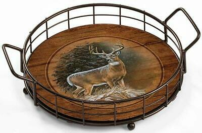 In the Storm - Whitetail Deer Serving Tray by Rosemary Millette