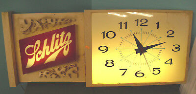 LARGE Hanging Vintage Schlitz Brewing Light Sign Clock 1964 - Advertising 171S