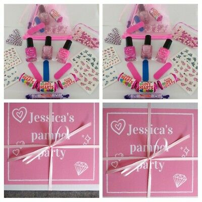 Girls Pamper Birthday Sleepover Party Prefilled Pink Organza Personalised Box