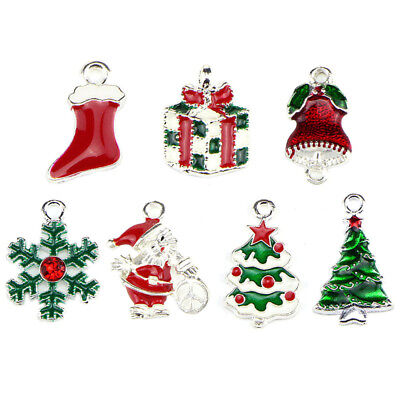 10PCS/Set Enamel Christmas Beads Charms Pendant Carfts DIY Jewelry Finding SRAU