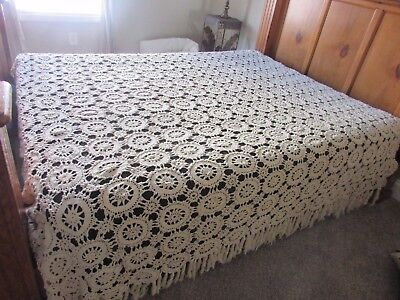 Vintage French Hand-Made Crochet Coverlet Bedspread King / Queen LARGE 110 X 96