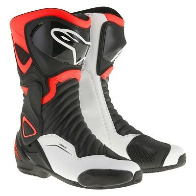 Alpinestars SMX 6 v2 Motorcycle Race Touring Boot Black Red Fluo White