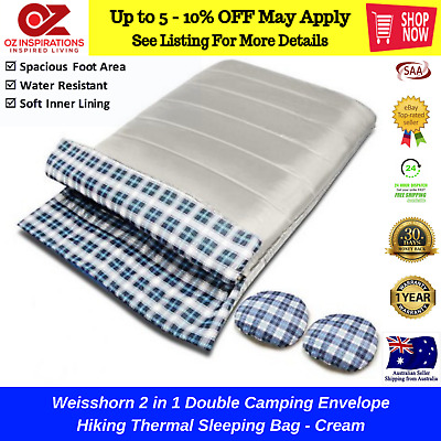 Weisshorn 2 in 1 Double Camping Envelope Hiking Thermal Sleeping Bag - Cream