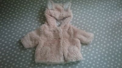 Next fluffy jacket coat ears girl 0-1 up to 1 month newborn winter autumn hoodie