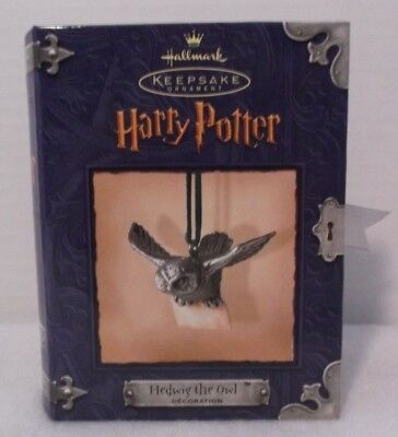 "New 2000 Hallmark Keepsake Ornament Harry Potter ""hedwig The Owl"" Pewter In Box"