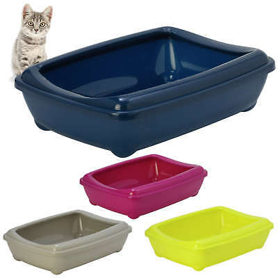 New Cat  Large Litter Tray With Rim 50x38x14cm 4Colours Quality Box Toilet Scoop