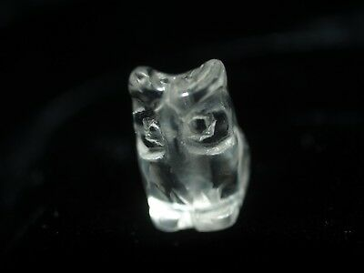 One Vintage Carved Chinese Clear Rock Crystal Quartz Bead Owl Shape  Design 16mm