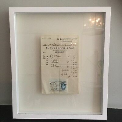 Pair of antique original wine merchants greengrocer Invoice bills framed