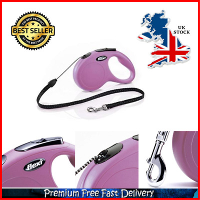 5M Retractable Dog Cord Lead Pets Leash With Brake Button For Up To 12 KG Dogs