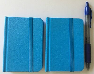 """2-pack New Small Blue Hardcover Pocket Notebook Journal 96 Pages 4.5 x 3"""" Ruled"""