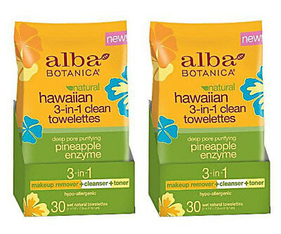 (Lot of 2) Alba Botanica Hawaiian 3-in-1 Clean Towelettes 30 ct (60 ct total)