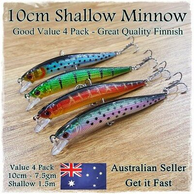 4 Trout Fishing Lures Redfin, Yellowbelly, Cod, Bass, Perch, Bream Flathead 10cm