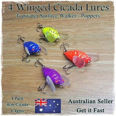 4x Winged Cicada Topwater Popper Crawler Freshwater lures Bass Cod Fishing Lures