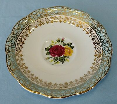 Royal Standard Fine Bone China Saucer Red Yellow Rose Blue Gold Filigree